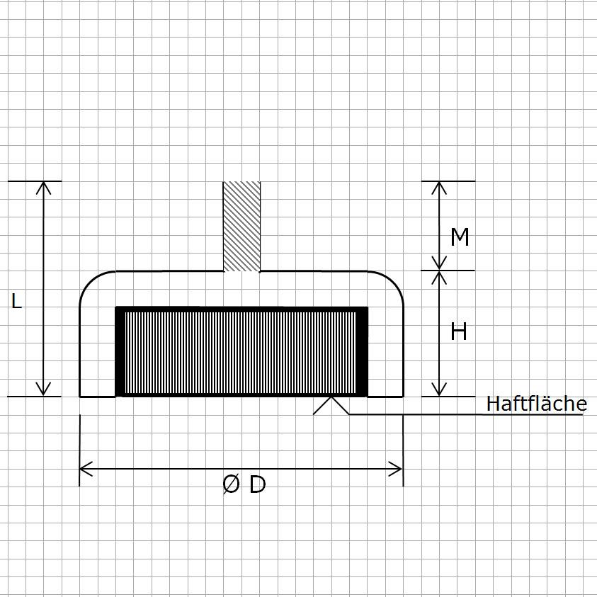 Zeichnung Hartferrit Flachgreifer mit Außengewinde