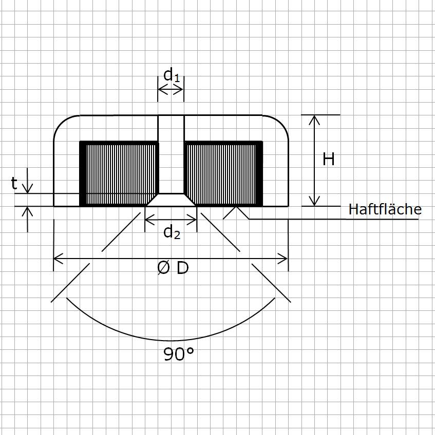 Zeichnung Hartferrit Flachgreifer mit Bohrung und Senkung