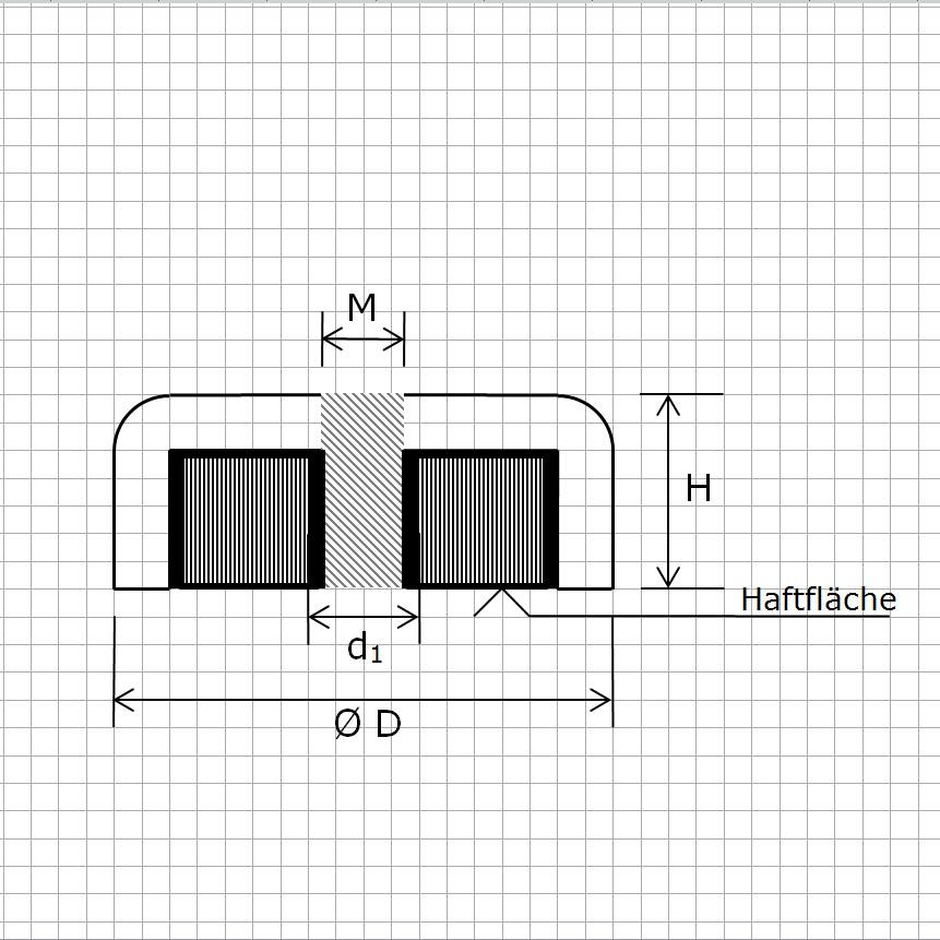 Zeichnung Hartferrit Flachgreifer mit Innengewinde