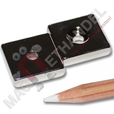 neodym quadermagnete n40 nord 20x20x5 mm zum anschrauben. Black Bedroom Furniture Sets. Home Design Ideas