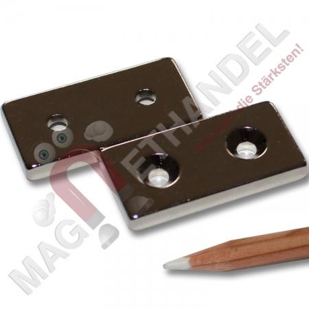 neodym quadermagnete n40 nord 40x20x5 mm zum anschrauben. Black Bedroom Furniture Sets. Home Design Ideas
