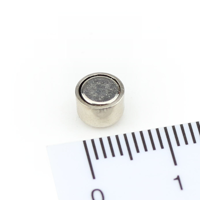 Neodymium flat pot magnets Ø 6 x 4,5 mm, Nickel - 500 g / 5 N