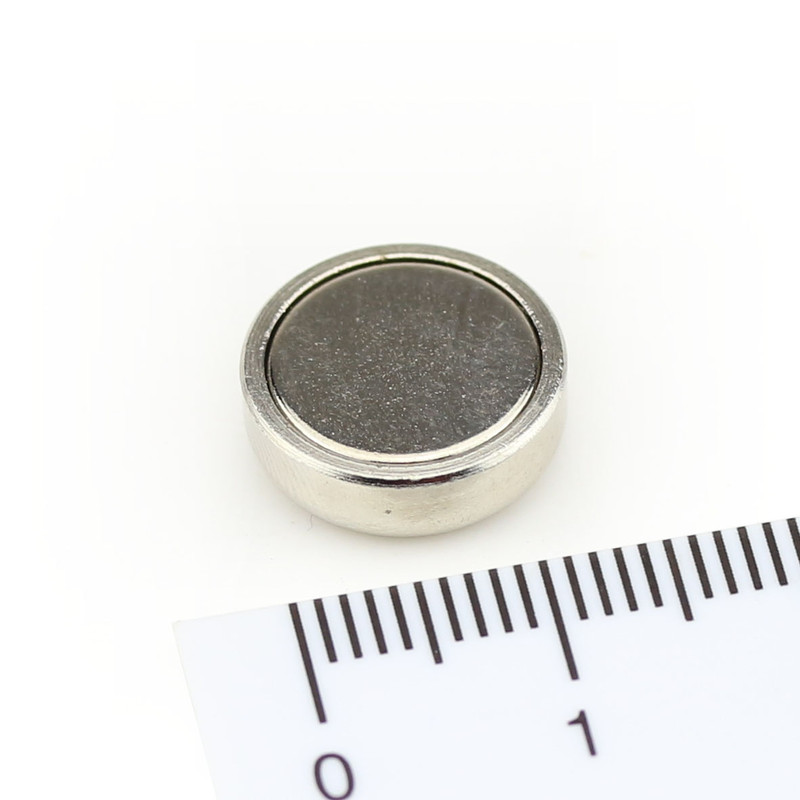 Neodymium flat pot magnets Ø 13 x 4,5 mm, Nickel - 6 kg / 60 N