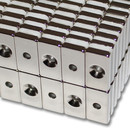 Neodymium magnets 20x10x3 with counterbore North Ø3,5 mm N40 - pull force 3 kg -