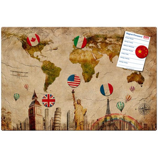 Magnetic pinboard World Travel 60x40 cm incl. 6 magnets
