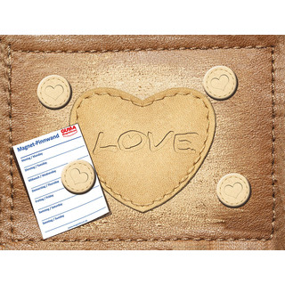 Magnetic pinboard Leather Heart 40x30 cm incl. 4 magnets