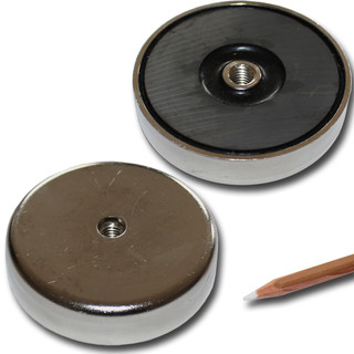 Ferrite flat pot magnets Ø 80 x 18 mm with internal...