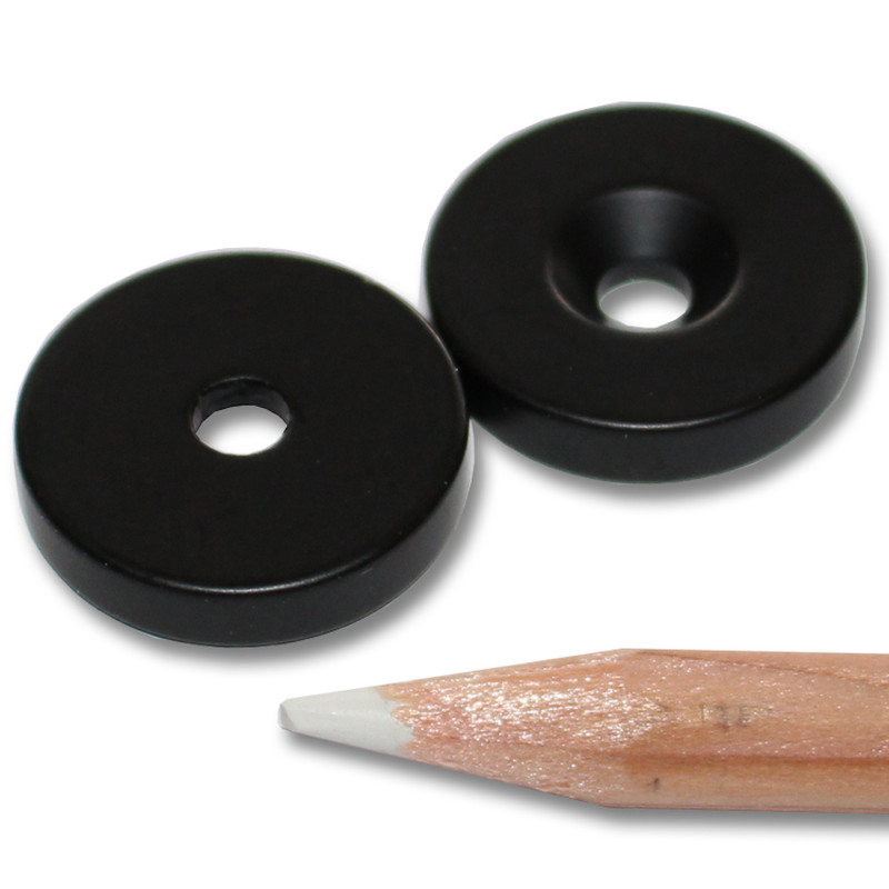 Neodymium magnets Ø20xØ4,2x4 with counterbore South black Epoxy - pull force 7,5 kg -