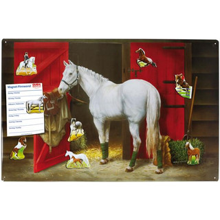 Magnetic pinboard Riding Stable / White Horse 60x40 cm...