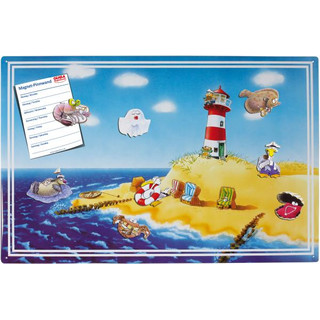 Magnetic pinboard Holiday / Beach 60x40 cm incl. 8 magnets