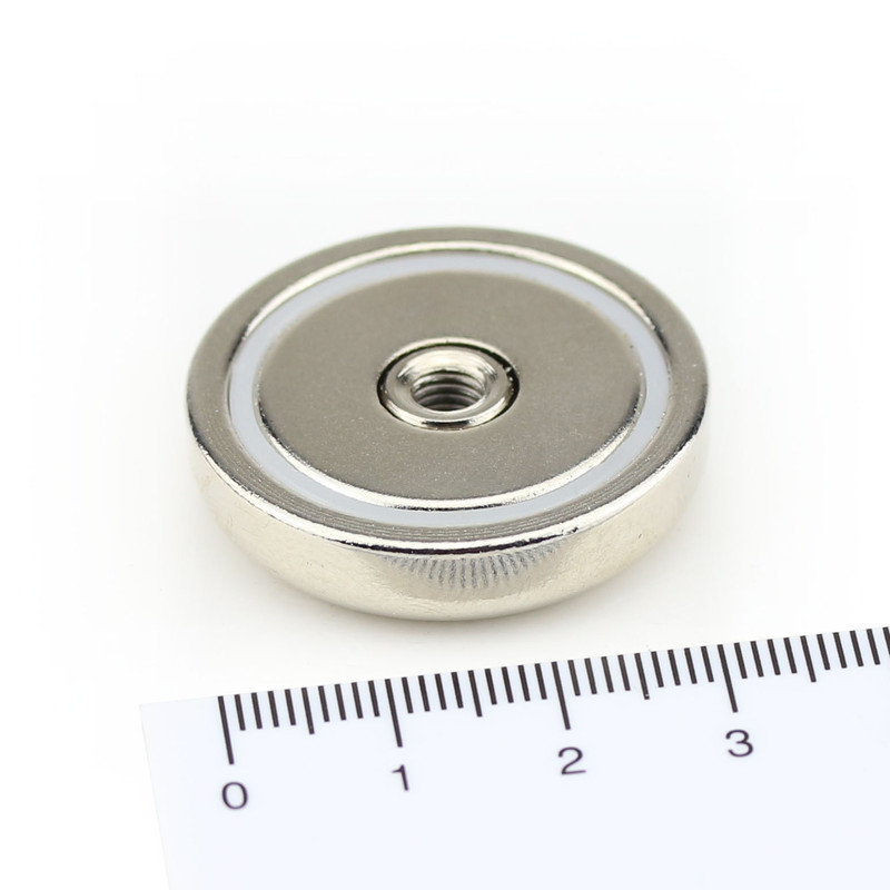 Neodymium flat pot magnets Ø 32 x 7 mm, with...