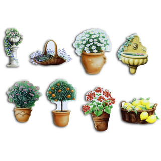 Pinboard Magnets Flowerpots Set with 8 pcs.