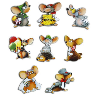 Pinboard Magnets Mice Set with 8 pcs.