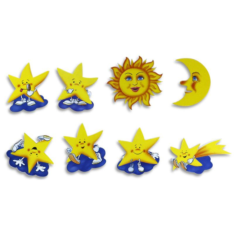 Pinboard Magnets Sun, Moon and Stars Set with 8 pcs.