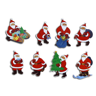 Pinboard Magnets Santa Clauses, red Set with 8 pcs.