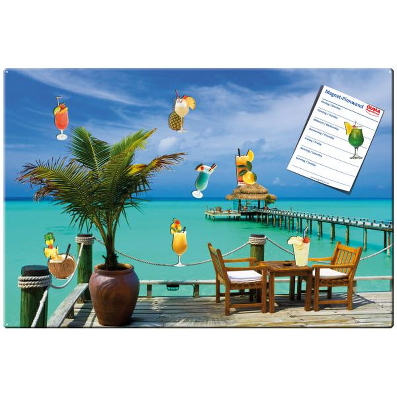 Magnetic pinboard Cocktail Carribean 60x40 cm incl. 8...