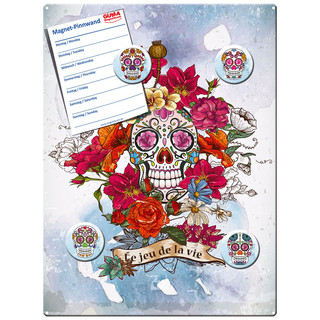Magnetic pinboard Skull and Rose 40x30 cm incl. 4 magnets