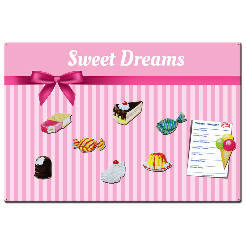 Magnetic pinboard Sweet Dreams 60x40 cm incl. 8 magnets