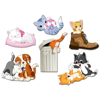 Pinboard Magnets Cute Cats Set with 6 pcs.